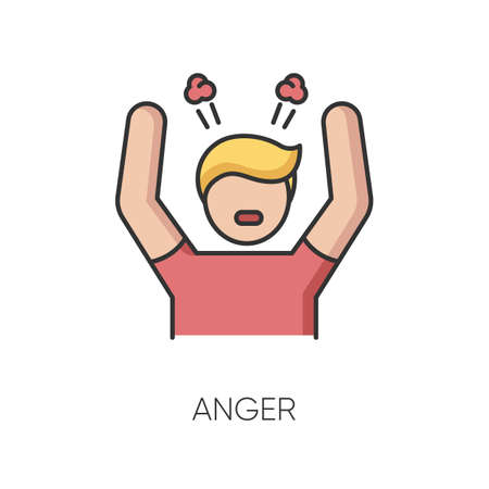 Anger RGB color icon. Negative emotion, bad mood. Emotional stress management, anger control problem. Aggressive behaviour. Angry person isolated vector illustration Vectores
