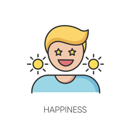 Happiness RGB color icon. Positive mindset, optimistic lifestyle. Emotional reaction, good mood, feeling of joy.. Happy, cheerful person isolated vector illustration 向量圖像