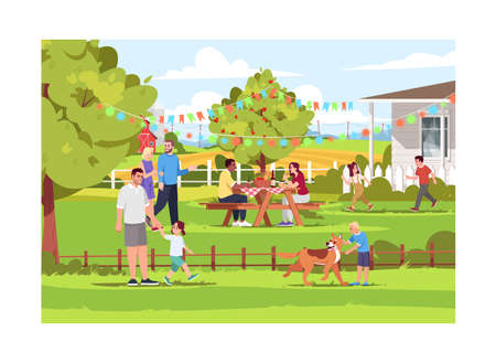 People spending holiday in village semi flat vector illustration. Summer countryside picnic. Children playing outdoors. Landscape background. 2D cartoon characters for commercial use