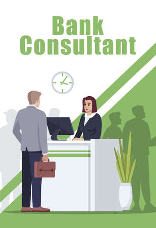 Bank consultant poster template. Financial department reception. Commercial flyer design with semi flat illustration. Vector cartoon promo card. Banking services advertising invitation Vetores