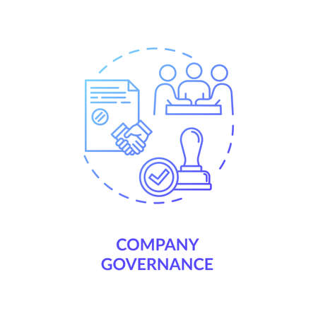 Company governance concept icon. Corporate management. Business partnership. Board of directors idea thin line illustration. Vector isolated outline RGB color drawing Illustration
