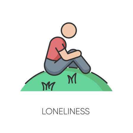 Loneliness RGB color icon. Human feeling, melancholy, emotional stress, depression. Mental state, psychological problem. Lonely person isolated vector illustration