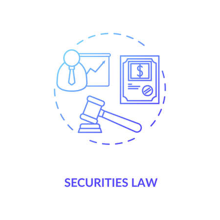 Securities law concept icon. Official document. Issuance of securities. Legally enforceable contract idea thin line illustration. Vector isolated outline RGB color drawing
