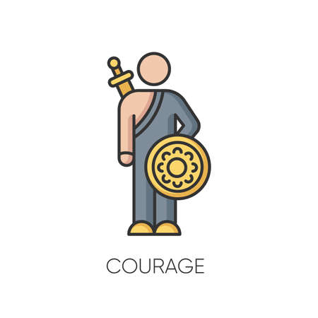 Courage RGB color icon. Feeling of bravery, fearlessness. Human psychology, mental state. Brave person, hero with sword and shield isolated vector illustration