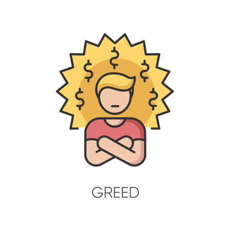 Greed RGB color icon. Bad personal trait, negative quality,. Feeling of avarice, lust for money. Greedy businessman, corrupted person isolated vector illustration