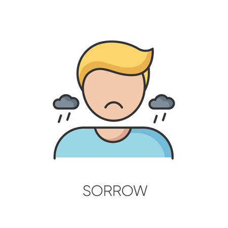Sorrow RGB color icon. Negative emotion, bad feeling. Sadness, grief and depression. Emotional stress, problem. Sorrowful, upset person isolated vector illustration 向量圖像
