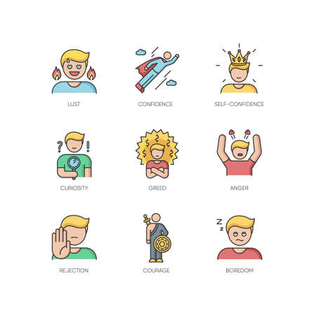 Human emotions RGB color icons set. Different psychological states and negative emotions. Emotional behaviour, personal qualities. Isolated vector illustrations