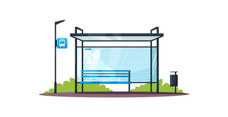 Empty bus station semi flat RGB color vector illustration. Bus shelter with no people. Public transport. Modern infrastructure and transportation. Isolated cartoon object on white background Illustration