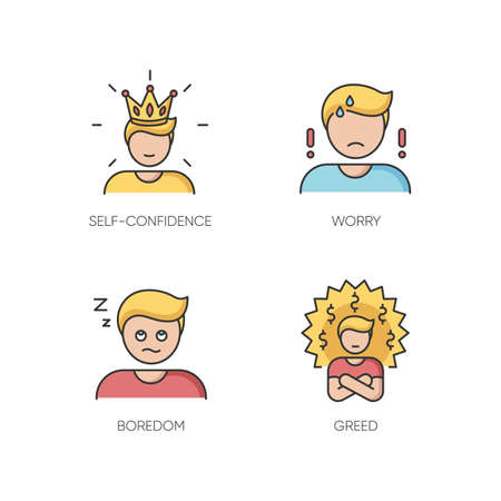 Negative feelings and bad traits RGB color icons set. Human emotions, personal feelings. Self confidence, worry, boredom and greed. Isolated vector illustrations