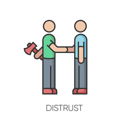 Distrust RGB color icon. Lack of trust, insecurity, betrayal. Negative mindset. Untrustworthy behaviour. Shaking hands with traitor isolated vector illustration