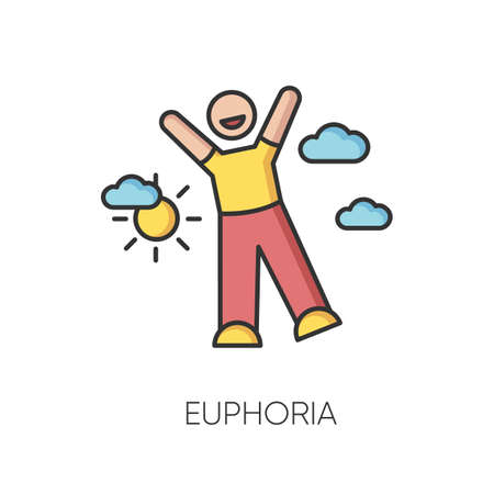 Euphoria RGB color icon. Feeling of strong joy and excitement. Happiness, good mood, positive emotion. Happy person in euphoric ecstasy isolated vector illustration