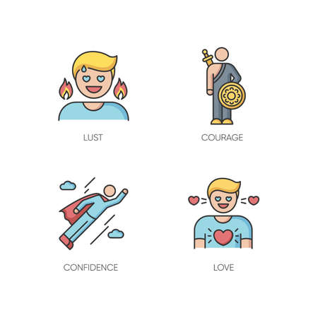 Good feelings and qualities RGB color icons set. Positive mood, emotions and personality traits. Confidence, courage, and love. Isolated vector illustrations Ilustración de vector