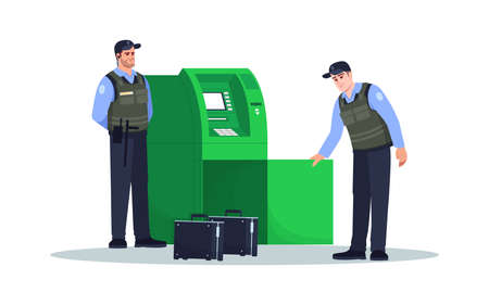 ATM refill semi flat RGB color vector illustration. Guards load money intro terminal. Financial operation. Professional carrier service. Patrol isolated cartoon characters on white background