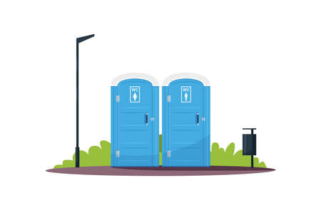 Separated women and men wc semi flat RGB color vector illustration. Portable blue public toilets. Individual lavatory. Sanitation facilities. Isolated cartoon objects on white background