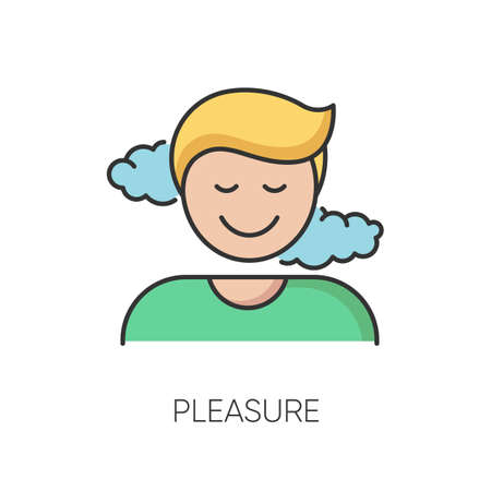 Pleasure RGB color icon. Positive emotion, good feeling, satisfaction. Pleased mind state, joyfull reaction. Satisfied, smiling person isolated vector illustration