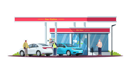 Gas station with people semi flat RGB color vector illustration. Attendant servicing. Diesel, gasoline fuel filling station and customers. isolated cartoon characters on white background