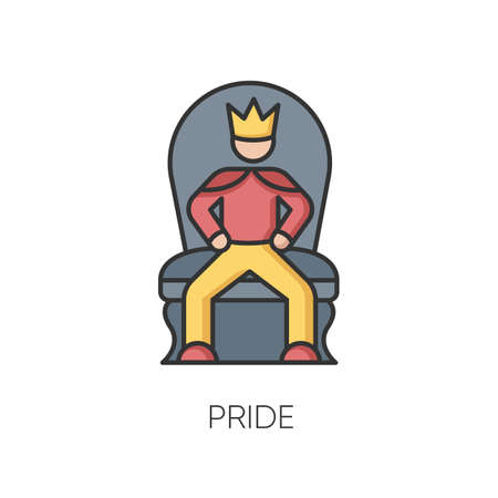 Pride RGB color icon. Arrogant behaviour, feeling of self importance. High minded, haughty temperament. Proud person sitting on throne isolated vector illustration