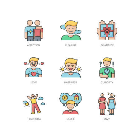 Feelings and emotions RGB color icons set. Various emotional reactions, human psychology. Positive feelings and negative mental states. Isolated vector illustrations