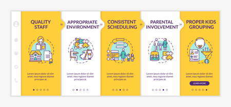 Kindergarten effectiveness components onboarding vector template. Early childhood education. Responsive mobile website with icons. Webpage walkthrough step screens. RGB color concept