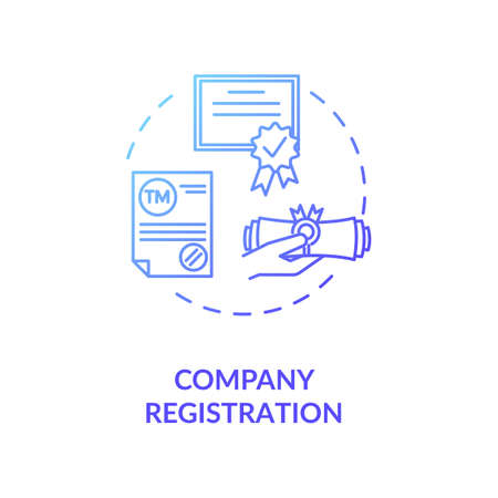 Company registration concept icon. Incorporation procedure. Company formation agent. Paper process idea thin line illustration. Vector isolated outline RGB color drawing