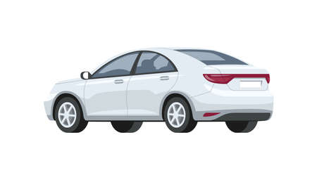Silver car semi flat RGB color vector illustration. Luxury and elegant white automobile. Urban means of transport. Back, side view. Isolated cartoon character on white background