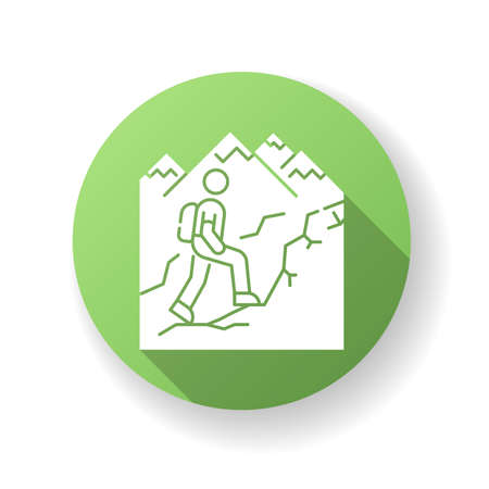 Trekking green flat design long shadow glyph icon. Nature tourism, backpacking. Outdoor recreational activity, challenging hiking trail. Tourist with backpack. Silhouette RGB color illustration