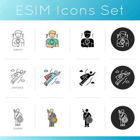 Human feelings icons set. Personality traits, good qualities. Fearlessness and self assurance. Linear, black and RGB color styles. Curiosity, courage and confidence. Isolated vector illustrations