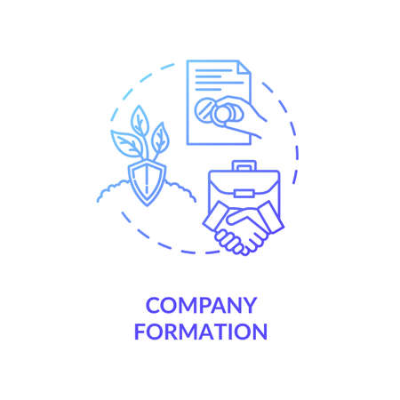 Company formation concept icon. Business partners handshake. Official document. Incorporation creating idea thin line illustration. Vector isolated outline RGB color drawing