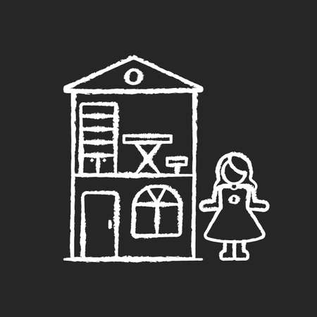 Dollhouse chalk white icon on black background. Miniature playhouse with doll. Pretend games playing. Princess home, cottage for preschoolers. Isolated vector chalkboard illustration