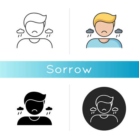 Sorrow icon. Negative emotion, bad feeling. Sadness, grief and depression. Linear black and RGB color styles. Emotional stress, problem. Sorrowful, upset person isolated vector illustrations