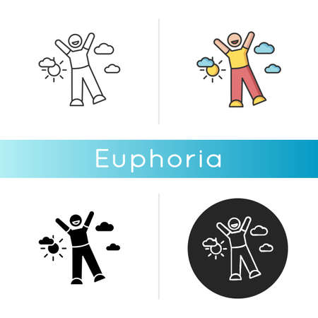 Euphoria icon. Feeling of strong joy and excitement. Happiness, good mood, positive emotion. Linear black and RGB color styles. Happy person in euphoric ecstasy isolated vector illustrations
