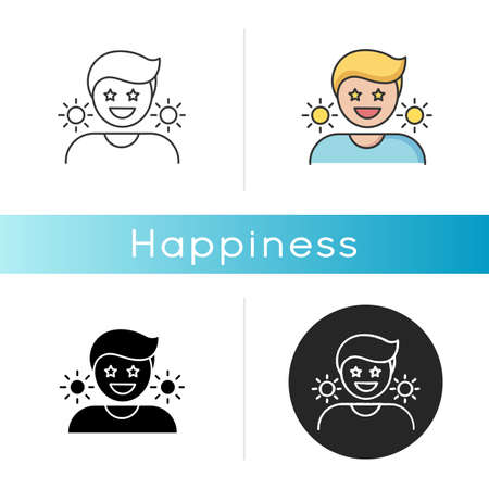 Happiness icon. Positive mindset, optimistic lifestyle. Emotional reaction, good mood, feeling of joy.. Linear black and RGB color styles. Happy, cheerful person isolated vector illustrations 矢量图像