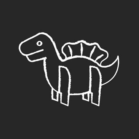 Dinosaur 3D puzzle toy chalk white icon on black background. Dino toy for toddlers. Educational games playing figure. Imagination development. Isolated vector chalkboard illustration