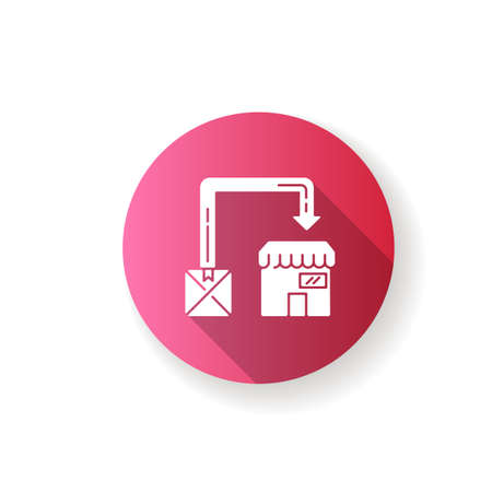 Post manufacturing pink flat design long shadow glyph icon. Post production, commercial distribution. Package delivery service. Sending product to stores. Silhouette RGB color illustration