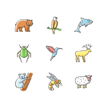 Animal species RGB color icons set. Flying birds, land animals and sea creatures. Diverse wildlife, exotic and ordinary fauna. Isolated vector illustrations