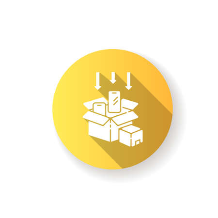 Packaging yellow flat design long shadow glyph icon. Post manufacturing, production packing process. Delivery preparation, parcel packing. Smartphones in boxes silhouette RGB color illustration