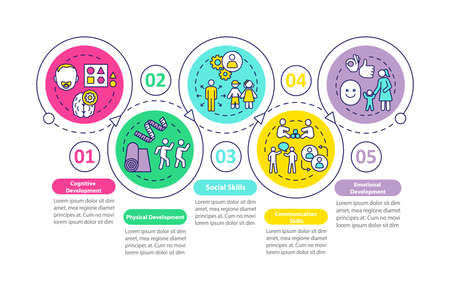 Children preschool education tasks vector infographic template. Presentation design elements. Data visualization with 5 steps. Process timeline chart. Workflow layout with linear icons 向量圖像