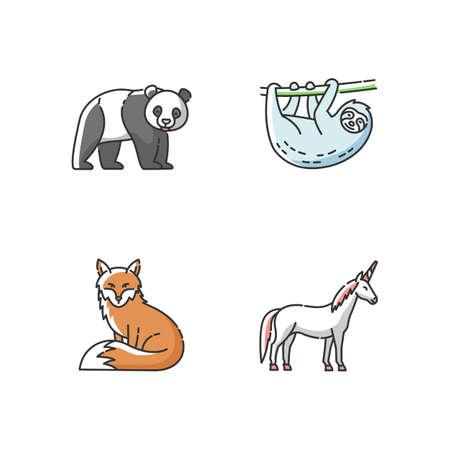 Common and fantasy animals RGB color icons set. Panda bear, sloth, fox and magic unicorn. Tropical zoo inhabitants, exotic wildlife. Isolated vector illustrations 向量圖像