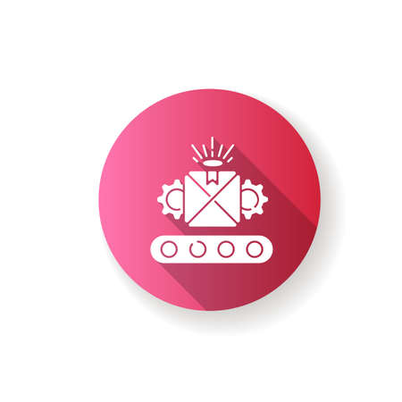 Custom manufacturing pink flat design long shadow glyph icon. Flexible and adjustable industrial production process. Customizable product on conveyor belt silhouette RGB color illustration 向量圖像