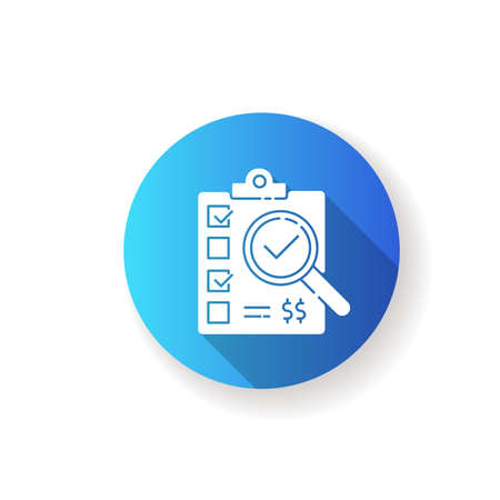 Inspection blue flat design long shadow glyph icon. Manufactured production quality control and certification test. Compliance form, clipboard with checklist silhouette RGB color illustration 向量圖像