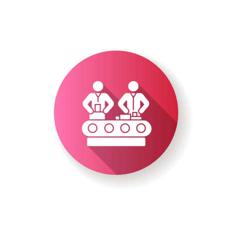 Assembly pink flat design long shadow glyph icon. Manufacturing process, human labor, production line. Factory workers manually assembling product on conveyor. Silhouette RGB color illustration
