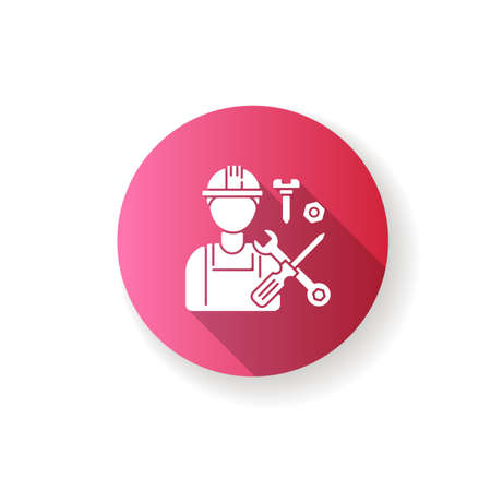 Industrial worker pink flat design long shadow glyph icon. Professional maintenance and installation service. Repairman, handyman with work tools in hardhat silhouette RGB color illustration