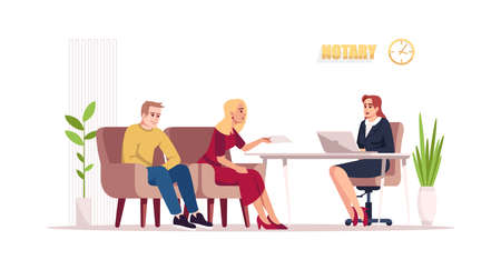 Notary consultation semi flat RGB color vector illustration. Wife and husband visit attorney. Help with documentation. Lawyer with customers isolated cartoon character on white background