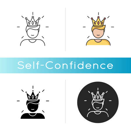 Self confidence icon. Feeling of overconfidence, narcissism. Arrogant attitude. Linear black and RGB color styles. Self assured, egotistical person in crown isolated vector illustrations