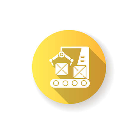 Production line yellow flat design long shadow glyph icon. Automated manufacturing process, modern industrial technology. Boxes on conveyor belt with robot arm silhouette RGB color illustration