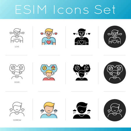 Good and bad feelings icons set. Feelings of love, desire and sorrow. Linear, black and RGB color styles. Passionate affection, stong wish and depression. Isolated vector illustrations