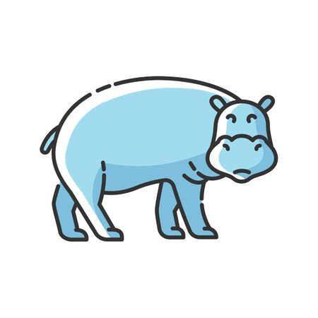 Hippo RGB color icon. Large exotic animal, african fauna, tropical semiaquatic mammal. Tropical zoo mascot, huge behemoth. Hippopotamus isolated vector illustration