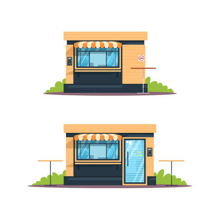 Outdoor snackbar semi flat RGB color vector illustrations set. Street food cafe, buffet, shop. Public eateries. Snackbar front, closed. Isolated cartoon objects on white background