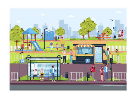 People resting in modern town semi flat vector illustration. Leisure in public places. Park with skyscrapers on background. City residents. 2D cartoon characters for commercial use 向量圖像