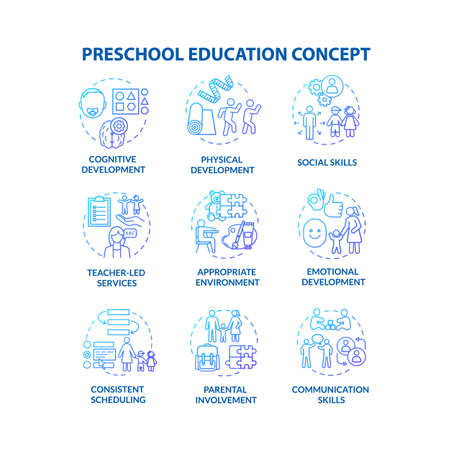 Kids preschool education concept icons set. Childcare center. Parenting and toddlers development. Early childhood idea thin line RGB color illustrations. Vector isolated outline drawings 向量圖像